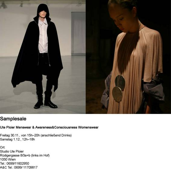Flyer Sample Sale Ute Ploier und Awarness & Consciousness