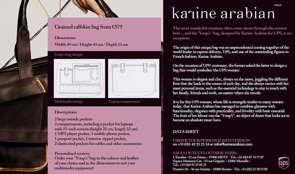 """Beschreibung der UPS Tasche """"Youps�? von Karine Arabian, Website Screenshot"""