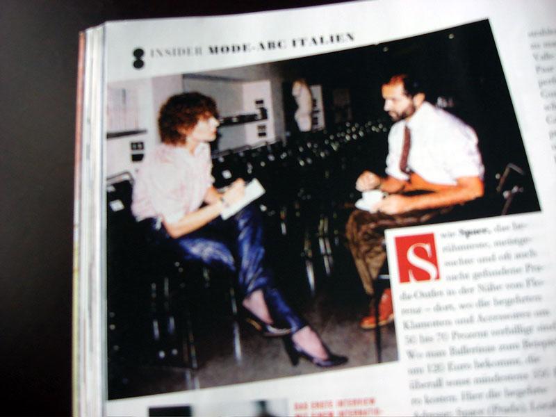 Brigitte Winkler mit Gianni Versace 1982, flair Ausgabe Juli/August 2008
