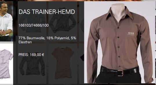 Das Trainerhemd, Screenshot: Strenesse.com