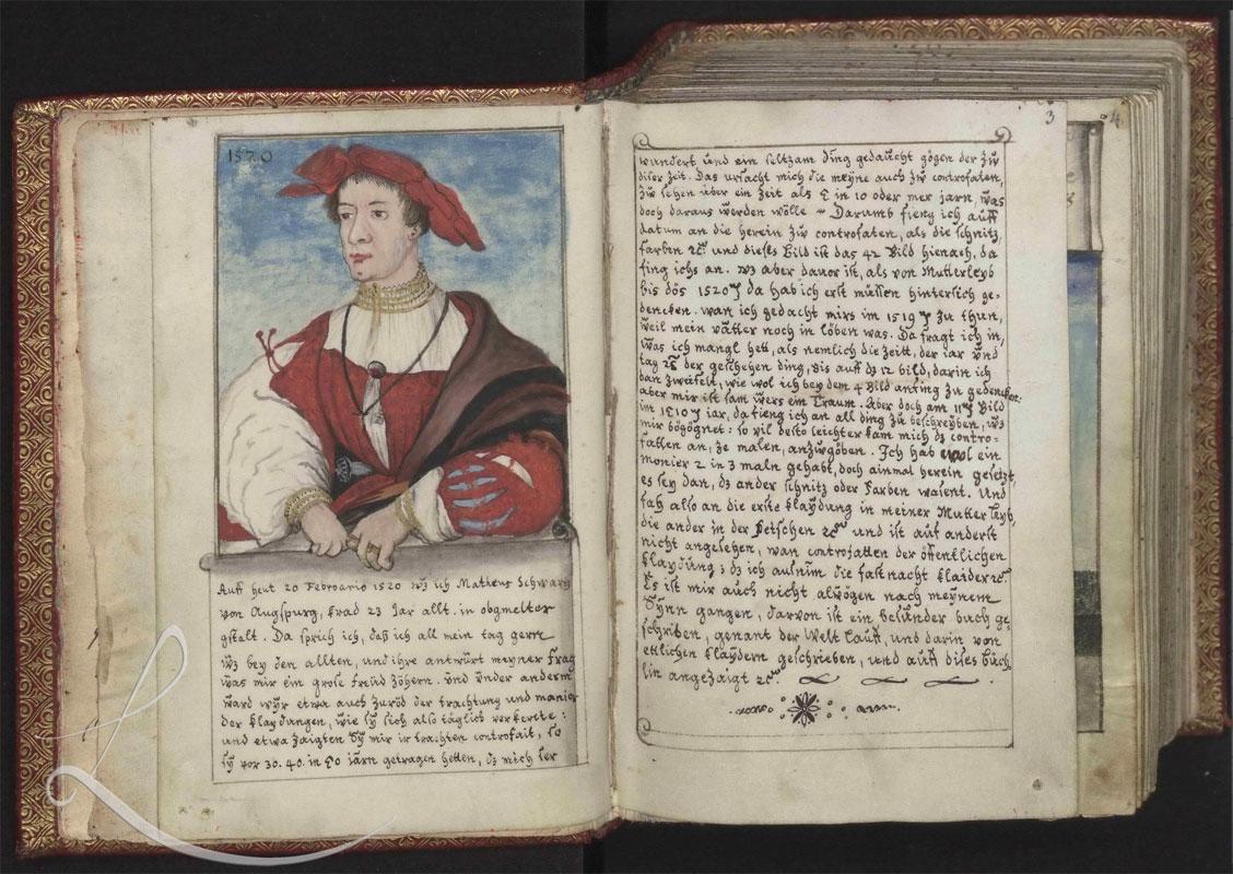 Trachtenbuch des Matthäus Schwarz aus Augsburg, 1520 - 1560, Bild: Ausstellung bookmarks2009.de