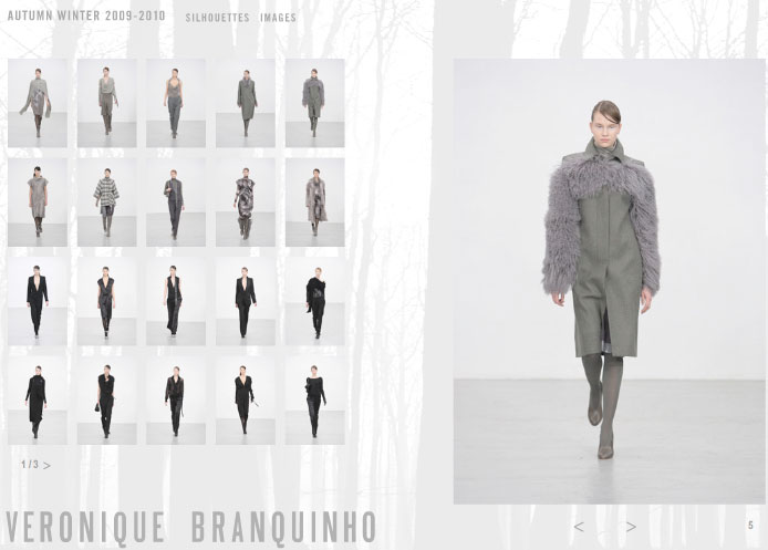 Veronique Branquinho Herbst/Winter 09/10, Website Screenshot