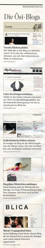 """""""Ösi-Blogs"""", Scan aus: Der Standard, Rondo, 9. Oktober 2009"""