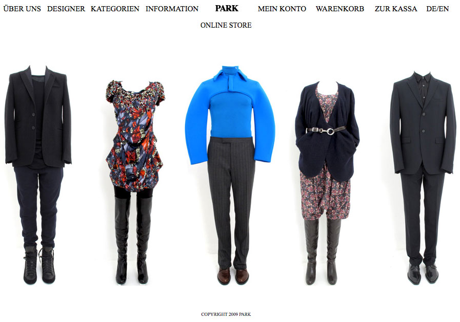 Park Onlineshop, Screenshot