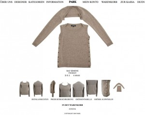 Twinset für Herren, Raf Simons, Park Onlineshop, Screenshot