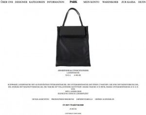 Tasche, Awareness & Consciousness, Park Onlineshop, Screenshot