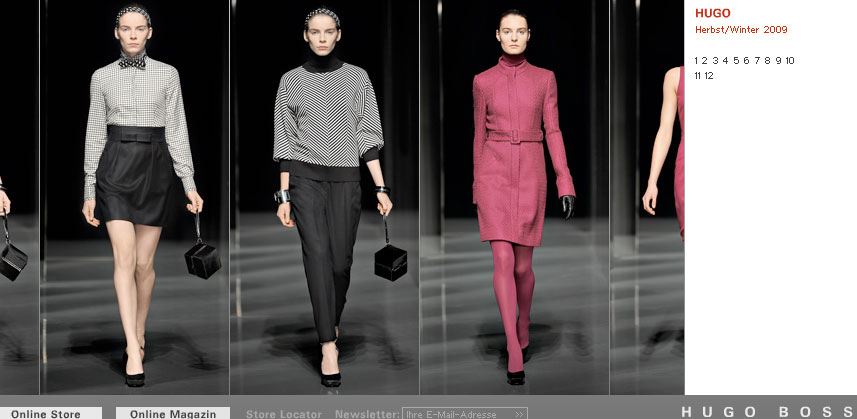 Hugo Damenkollektion Herbst/Winter 2009, Screenshot Website Hugo Boss