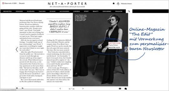 """Online-Magazin """"The Edit"""" mit Verknüpfung zur Newsletter-Personalisierung"""